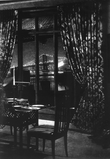 "Drapes/Bridge, Gelatin Silver Print,	69"" x 50"", 1997"